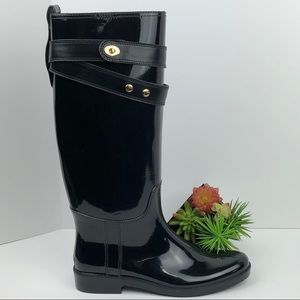 Coach Talia Tall Black Saddle Rain Boots | 10